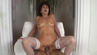 Granny Katala in white stockings fucked