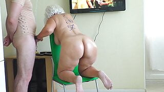 Mom stood on a chair and took stepson's dick