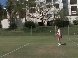 Naked asian playing tennis movie Mizuho qin plays tennis