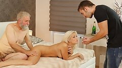 DADDY4K. Naughty old man drags sons blonde GF into