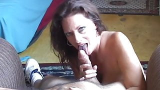 Saucy old spunker sucks a lucky guy for a mouthful of cum