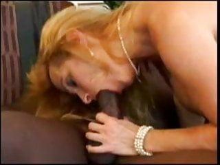 Granny sucks a big black cock - Blonde mature sucks a big black cock
