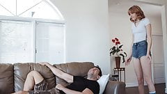 Lovely chick Lena Anderson gets dicked down on the couch