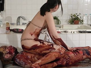 Rocco despirito asian sauce Japanese femdom wet and messy with chocolate sauce