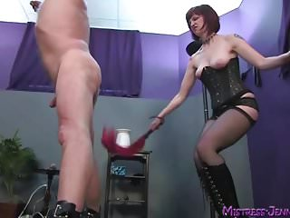 Vaginal burning and bladder pain pressure - Mistress femdom whipping, cock burning and squirt gargle