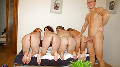 Home gangbang with mature mothers and young guy