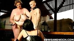 BBW threesome pounding with facesitting and spanking