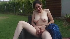Very shy wife strips naked in garden and plays with herself