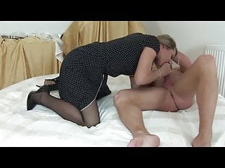 Pisces and their first sexual partner - Sexy blonde in black pantyhose sucks and fucks partner