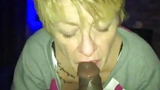 Blonde granny really loves to suck BBC