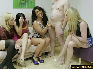 Bbw domina sex video - Dominas in group dominate sub by tugging