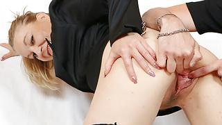 Pussy gaping of horny granny