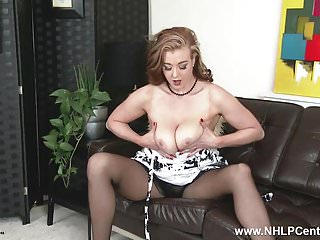 Strip sex on video Sexy blonde in sheer black pantyhose strips teases and toys