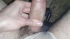 Mom panties hard uncut cock handjob