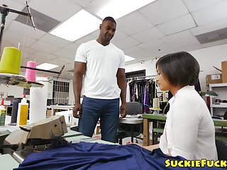 Naked for the tailor - Tiny asian tailor assfucked by big black cock