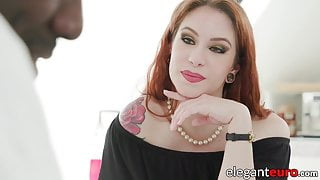 Redhead babe with natural tits fucked in both holes by BBC