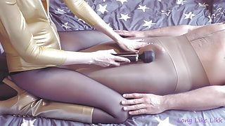 My seamless pantyhose and his cum from a vibrator