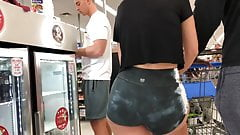 Candid Wide Hipped Teen in Spandex Shorts