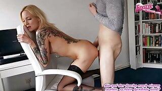 German skinny blonde tattooed teen fucked in amateur porn