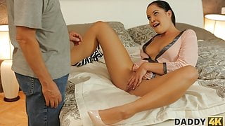 DADDY4K. After shopping, lassie decides to cheer up BF's old step dad