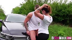 Busty babe involved in bi threesome