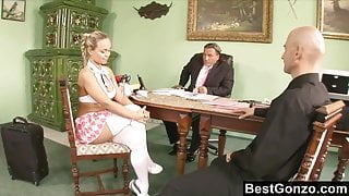 Naughty schoolgirl learning a lesson