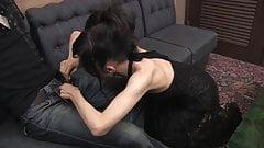 Cocksucking slut licks every drop of cumload after BJ
