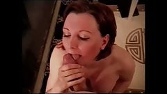 Slut milf gets cum in mouth. Big natural boobs