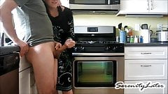 Handjob Wifey shoots his Cum clear across the Kitchen