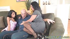 Bigtitted stepmom cockriding in taboo trio