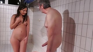 young girl want to swim older man