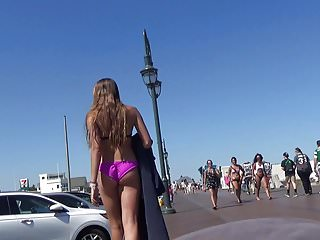 Beach ca gay long Tall long legs bikini babe