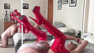 LINDA S. wearing RED fuck me BOOTS