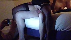 Hotwife riding bull in front of hubby