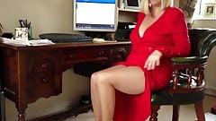 UK Cock Teasing Secretary Wife In Tan Tights Pantyhose