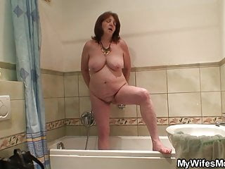 Sex with mother inlaw - Busty not mother inlaw rides his cock after shower