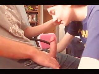 Teen girl sucks boyfriend on webcam - Teen girl lovingly sucks his moaning boyfriend