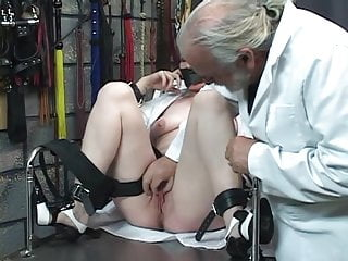 Asian scientist inventor Mad scientist pours hot wax on bound thick mature blondes clit in dungeon