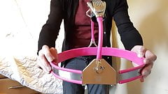 Tranny Guy in Pink Chastity Belt