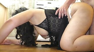 Stepmom with a big ass in a thong enjoys anal sex with stepson