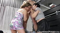 Pair of mature women please massive hard dong together