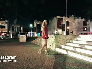 Teen in skimpy clothes short skirt Very hot teen in short skirt walking outdoor high heels