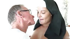 Oldman John fuck hot nun