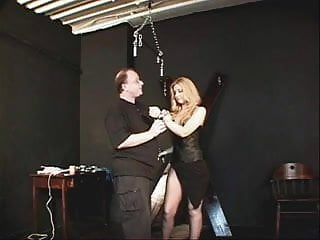 Dressed to tease bondage - Small tits hottie in a black dress and nylons bound and teased