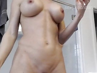 Female fitness nude models German fitness model nude in bathroom