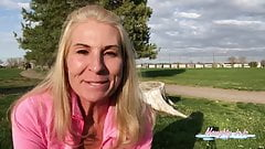 Public piss video, Milf NaughtyJoJo, Joanna Meadows