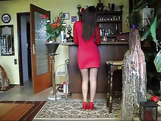 Snake blake with red strips - Stripping down in red dress