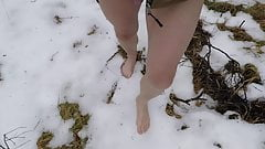 Walking Barefoot In The Snow Showing 6 mm Nipple Piercing