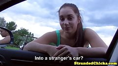 Young hitchhiker deep throating driver after being fingered