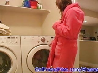 Sex on a washing machine - Amateur teen masturbates on washing machine